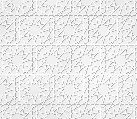 emboss: Light gray seamless symmetrical abstract vector background in arabian style made of emboss geometric shapes with shadow. Islamic traditional pattern.