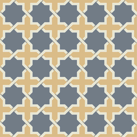 Seamless symmetrical abstract vector background in arabian style made of geometric shape with shadow. Islamic traditional pattern. Illustration