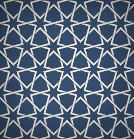 emboss: Seamless symmetrical abstract vector background in arabian style made of emboss geometric stars with shadow. Islamic traditional pattern.
