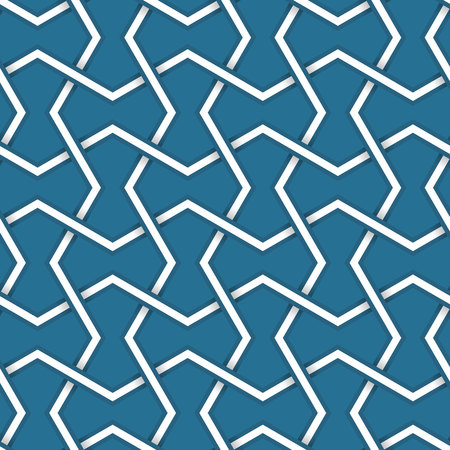 emboss: Seamless symmetrical abstract vector background in arabian style made of emboss geometric shapes with shadow. Islamic traditional pattern. Blue and white colors.