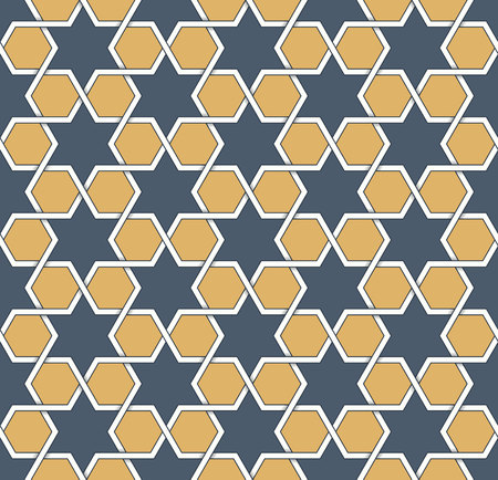 yellow star: Seamless symmetrical abstract vector background in arabian style made of emboss geometric shapes with shadow. Islamic traditional pattern.