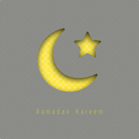 realictic: Ramadan kareem - vector greeting card with hanging moon and stars. Ilustration made of realictic paper with shadow. Illustration