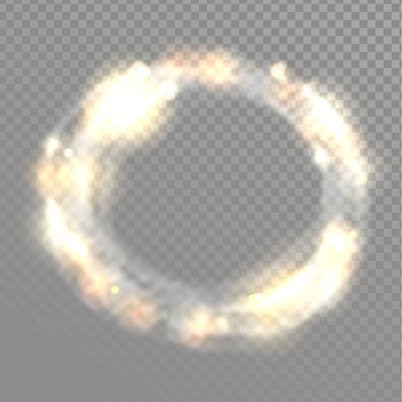 glitz: Vector light circle frame. Transparent glowing effects.