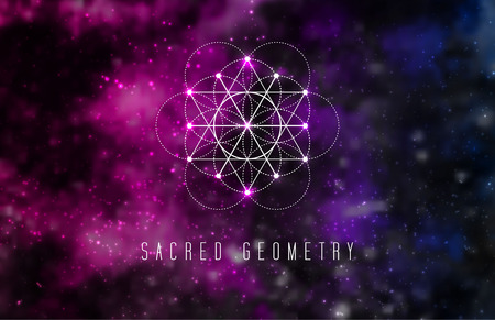Elemento di disegno vettoriale di geometria sacra. Alchimia, simboli sacri hipster su uno sfondo astratto cosmico con brillanti stelle e quadrati di colore.