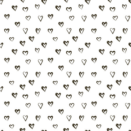 heats: Vector doodle pattern with heats, made of brush stroke. Black and white seamless background.