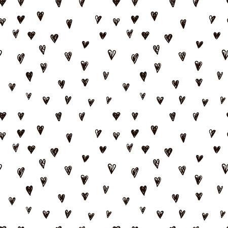 Vector doodle pattern with heats, made of brush stroke. Black and white seamless background.