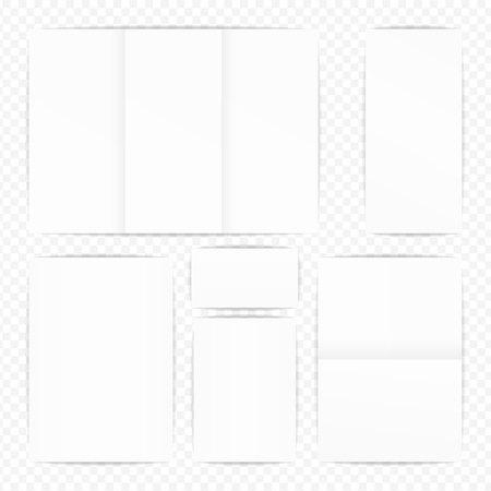 papier a lettre: Ensemble de vecteur maquette jeu de papier. Style réaliste Branding Isolated Sample Elements Collection. Illustration