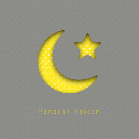 realictic: Ramadan kareem - vector greeting card with hanging moon and stars. Ilustration made of realictic paper with shadow. Gray and yellow colors.