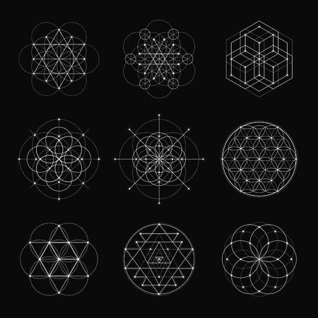 sri yantra: Sacred geometry vector design elements. Alchemy, religion, philosophy, spirituality, hipster symbols and elements. White line on a black background. Illustration