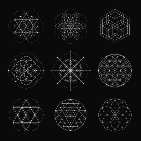 Sacred geometry vector design elements. Alchemy, religion, philosophy, spirituality, hipster symbols and elements. White line on a black background. Illustration