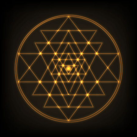 Sri Yantra - symbol of Hindu tantra formed by nine interlocking triangles that radiate out from the central point. Sacred geometry. Glowing and shine abstract vector illustration.