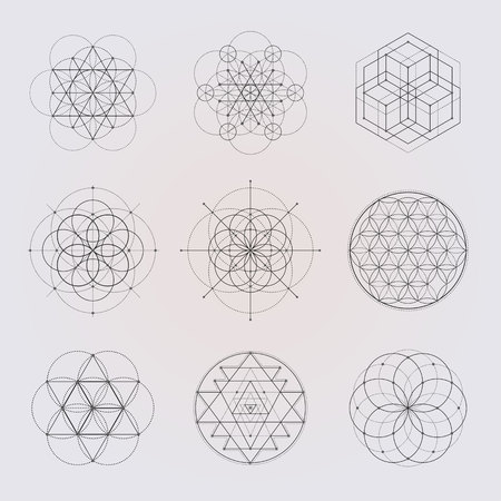 sri yantra: Sacred geometry vector design elements. Alchemy, religion, philosophy, spirituality, hipster symbols and elements. Black line on a gray background.
