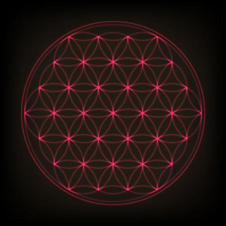 Flower of life. Sacred geometry, vector spiritual symbol. Pink neon vector illustration.