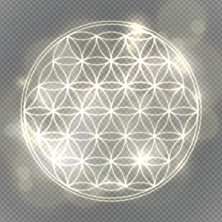 silver circle: Flower of life. Sacred geometry, vector spiritual symbol. Silver neon vector illustration.