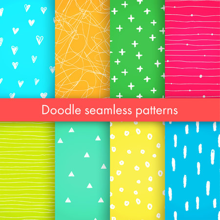 crosses: Set of bright vector doodle patterns with hearts, crosses, triangles, made of brush stroke. Blue, pink, yellow, orange, white seamless backgrounds.