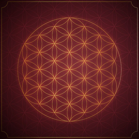ancient yoga: Flower of life. Sacred geometry, vector spiritual symbol.