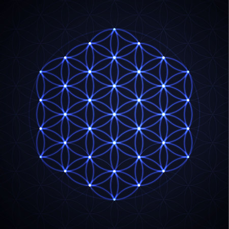 Flower of life. Sacred geometry, vector spiritual symbol.
