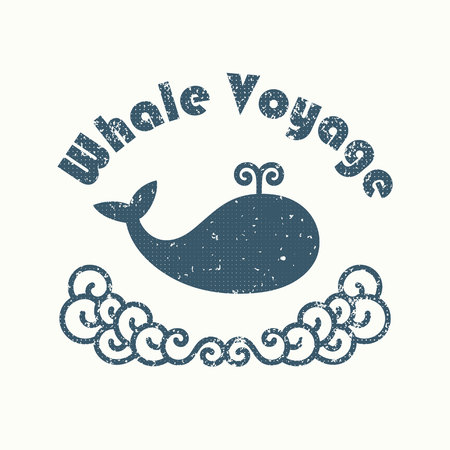 curly tail: Vector whale illustration and icon. Blue and white colors.