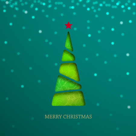 Paper Christmas tree on green background with sparkle, shine and shadow. Creative vector card.