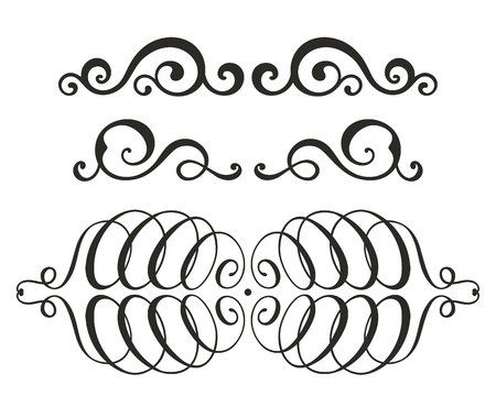 Vector swirl elements for design. Beautiful black curves isolated on white background.