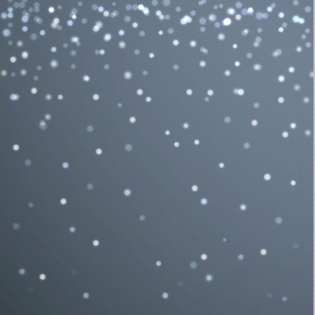 Vector white sparkling particles on blue background. Fall snowflakes. Illustration