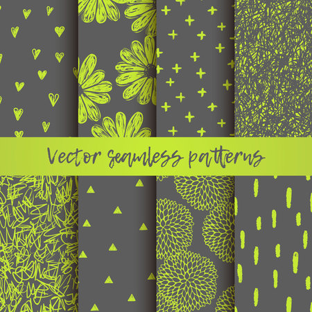 Vector set of seamless vector patterns with triangles, hearts,doodling round flowers, chaotic scribbles, brush stroke. Gray and lemon colors.