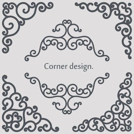 Set of vector decorative elements. Corner design. Illustration