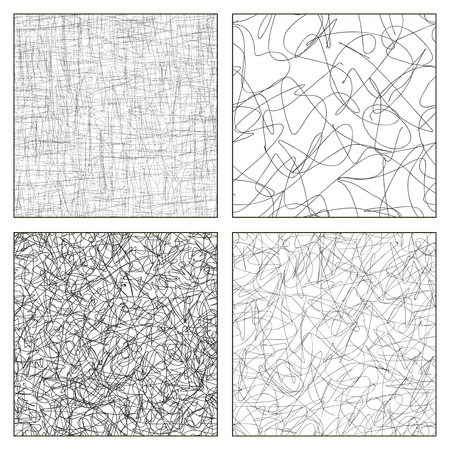 Seamless vector set of scribble patterns. Black and white colors.