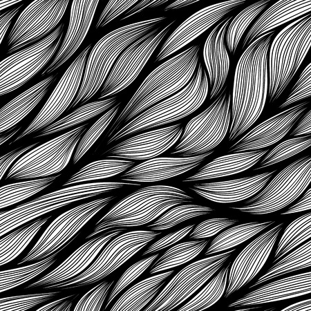 Hand drawn seamless vector doodle pattern. Black and white colors.