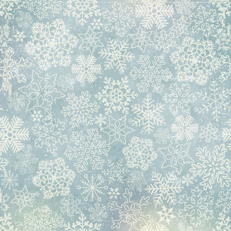 Vector snowflakes blue background with old texture and colorful spots.