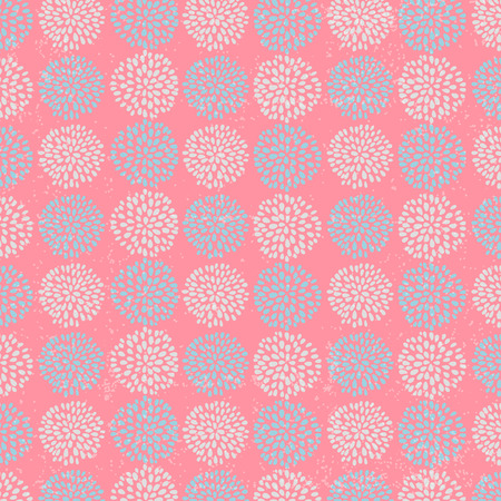 Vector floral pattern with beautiful blue circle flowers, made of petals on pink background. Illustration