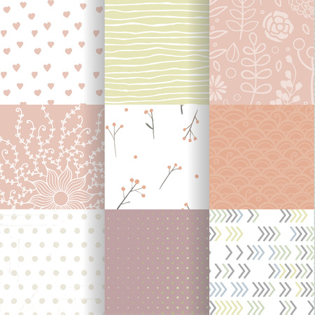 Set of vector spring patterns with colorful arrows, flowers, doodle pattern, hand drawn lines, heats.