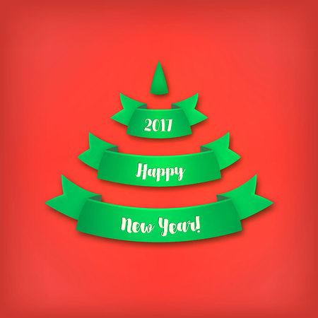 Green Christmas tree made of realistic ribbon with shadow on red background.