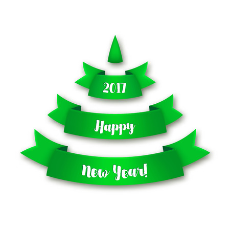 Green Christmas tree made of realistic ribbon with shadow on white background.