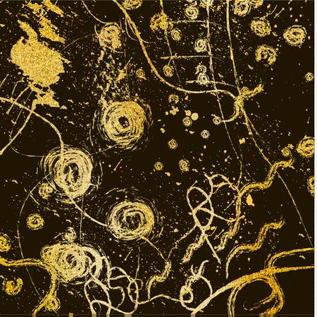 Dry brush hand drawn texture made of glitter. Abstract patterns, vector illustration.