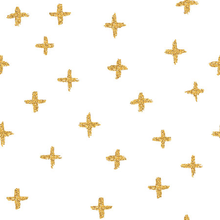 Vector seamless pattern with crosses, made of brush stroke and gold glitter. Illustration