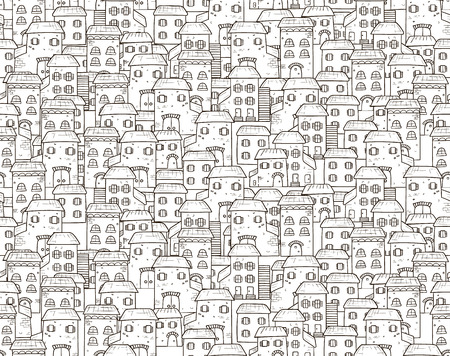 Vector seamless cartoon pattern, made of houses in European style.