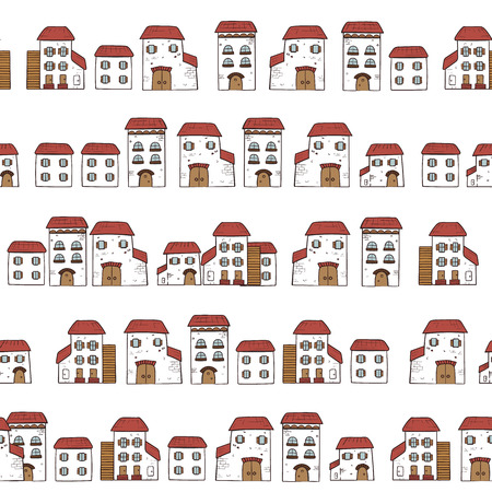 Vector seamless cartoon pattern, made of collection houses in old European style. Isolated white facades and red roofs. Illustration