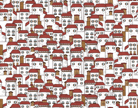 Vector seamless cartoon pattern, made of houses. Illustration