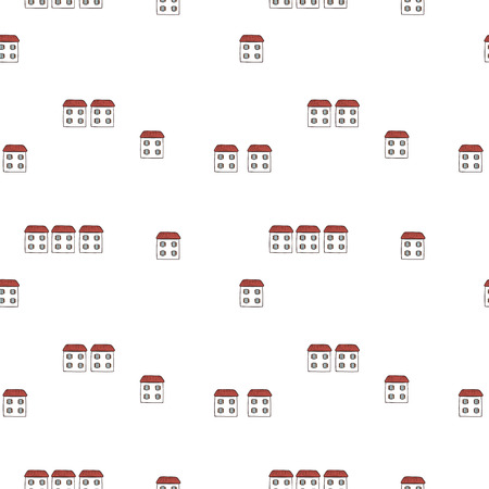 Vector seamless cartoon pattern with houses. Illustration