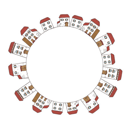 Vector circle frame with houses. Illustration