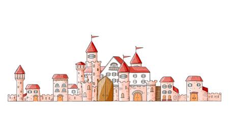 Vector magic cartoon cute medieval castles.