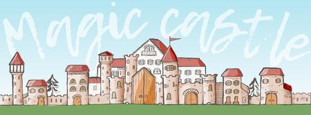 arquitecto caricatura: Vectoriales de dibujos animados lindo mágico de castillos medievales.