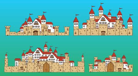 Vector cartoon cute creator castles. Set of medieval architecture.