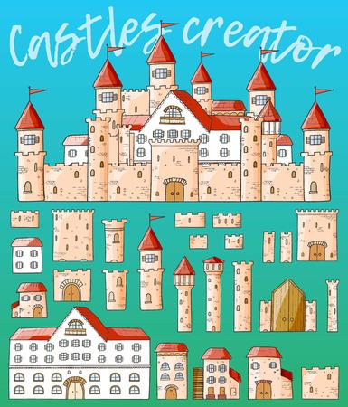 creador: Vector de dibujos animados lindo castillos creador. Conjunto de arquitectura.