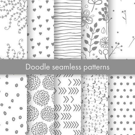 Set of vector spring patterns with flowers, doodle pattern, branches, leaves, dots, hearts.