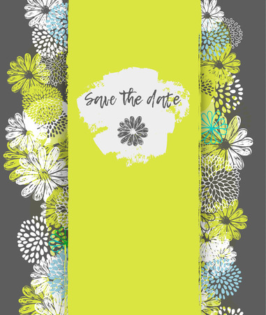 Vector card with lemon, white, blue stylized doodle flowers and place for your text.