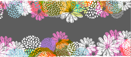 Vector border with lemon, white, blue, pink stylized doodle flowers and place for your text.