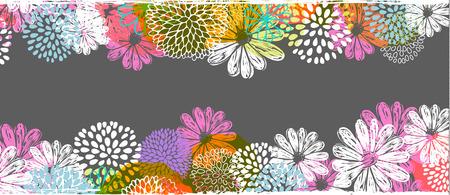 Vector grens met citroen, wit, blauw, roze gestileerde krabbel bloemen en plaats voor uw tekst. Vector Illustratie