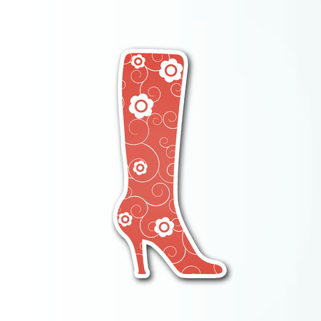 Vector red boot sign with white flowers for the womens shoes collection. Illustration